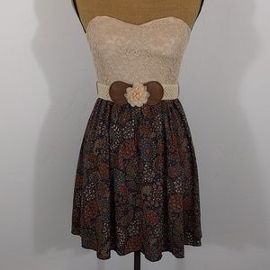 January 7 Strapless Floral and Lace Dress Sz XS